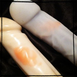 Stained silicone dildos